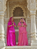 Indian Women Wearing Traditional Sari at the Jaswant Thada  an Architectural Landmark
