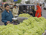 Grapes in an Outdoor Fruit and Vegetable Market  Udaipur  India