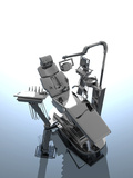 A 3D Illustration of a Dentist Chair and a Selection of Dental Tool Attachments