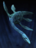 Illustration of the Legendary Loch Ness Monster Swimming  Scotland