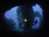 Divers at the Entrance to Second Cathedral Formation  Lanai  Hawaii  USA