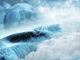 A Large Blue Moon as Seen Through Large Breaking Ocean Waves