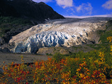 Exit Glacier Near Seward in the Fall  Exit Glacier Flows Down From The Harding Icefield