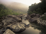 Boulders and Foggy Sunrise Along the Big South Fork River  Big South Fork National River