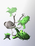 Illustration of a Nanomachine Capturing Human Viruses with its Claw-Like Devices