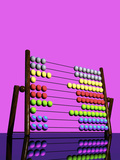 A 3D Render of a Colorful Abacus Reflected on a Glossy Table Top Surface