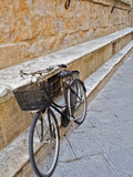 Bicycle Parked Along Wall  Pienza  Italy  Tuscany