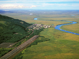 Aerial View of the Alaskan Native Village of Manokotak on the Igushik River