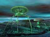 Conceptual Image of Two Alien Tripod Like Spaceships Walking over the Countryside