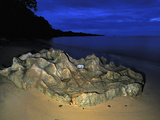 Eroded Rock on a Sandy Beach in the Evening in Masoala National Park  Madagascar