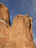 Sandstone Fins in the Garden of the Gods Cradle the Setting Moon on a Winter Morning