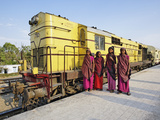 Young Indian Women Posing in Front of Palace on Wheels Train Parked at Train Station  Udaipur