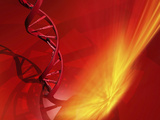 Conceptual Image Containing 3D Render of Human DNA Helix Within a Fantasy Background