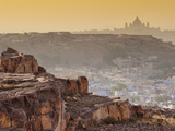 The City of Jodhpur  the Blue City  and the Distant Umaid Bhawan Palace  Located in the Thar Desert