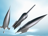 Illustration of Three Retro Style Spaceship Rockets in Flight