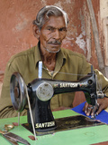 Elderly Man Sewing Outdoors  Jaipur  India