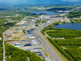 Aerial View of Downtown Wasilla  Alaska  USA
