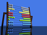 Illustration of a Colorful Abacus Reflected on a Glossy Table Top Surface