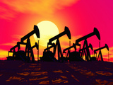 Illustration of Silhouetted Oil Wells Set Against the Deep Red Sky of a Sunrise or Sunset