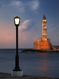 Lighthouse and Lighted Lamp Post at Dusk  Chania  Crete  Greece