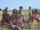 Masai Women and Children  Serengeti  Tanzania  Africa