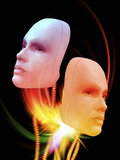 Illustration of Two Female Android Heads Suspended on Wires with Colorful Light Flares