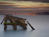 The Old and Weathered Berkeley Pier with Alcatraz Island and the Golden Gate Bridge