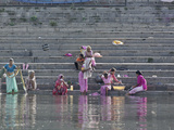 Indian Women Bathing and Washing Clothes  Lake Pichola  Udaipur  India