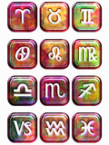 Illustration of Glossy Astrology Sign Buttons on a White Background