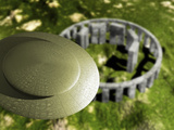 Conceptual Illustration of an Ufo Hovering over Stonehenge from an Aerial Viewpoint