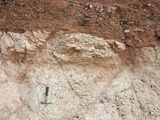 Depositional Contact of Gravel Deposit on Older Volcanic Tuff