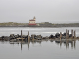 Coquille River Lighthouse at the Mouth of the Coquille River on a Foggy Day  Bandon  Oregon  USA