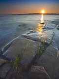 Rocky Shore of Lake of Two Mountains at Sunset  Quebec  Canada