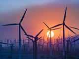 Wind Turbines Near Palm Springs  California  at Sunset