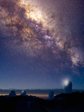 Observatories at Kitt Peak National Observatory  Arizona  USA and the Milky Way in the Night Sky