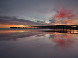 Sunset Behind the Pier at Avila Beach at Low Tide  San Luis Obispo  California  USA