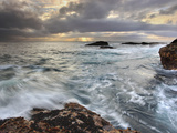 Winter Storm Waves Battering the Rocky Coast Near Monterey  Central California  USA