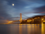 Fog and the Moon over the Golden Gate Bridge at Sunset  San Francisco  California  USA
