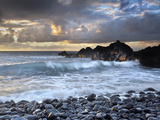 Waves Battering Shore Rocks and Black Cobblestones on a Beach Near Hana  Maui  USA