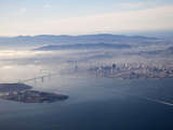 Aerial View of Angel Island  Oakland Bay Bridge and San Francisco  Pacific Ocean  California  USA