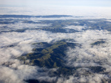 Fog Filling in Low-Lying Areas Between Ridge Tops  Northern California  USA