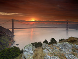 Golden Gate Bridge at Sunset under Foggy and Cloudy Skies  San Francisco Bay  California  USA