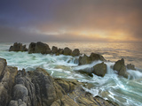Crashing Waves Eroding the Rocky Coast Near Monterey  California  USA