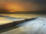 Santa Barbara Sunrise as a Thick Fog Begins to Clear  The Groyne Helps Keep The Sand in Place