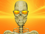 Illustration of Skeleton Enjoying the Sunset