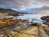 Waves Eroding the Tilted Sandstone Strata Rocky Coast Near Monterey  Central California  USA