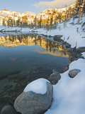 Early Winter Comes to Leprechaun Lake in Early Morning Sunshine on the Ridge  Enchantment Lakes
