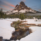 Spring Snow Melt and Liberty Bell Spire  North Cascades National Park  Washington  USA