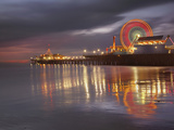 Santa Monica  California  USA Pier at Night  with Lights and Amusement Rides
