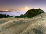 Full Moonrise at Sunset  Mt Tamalpais  California  USA